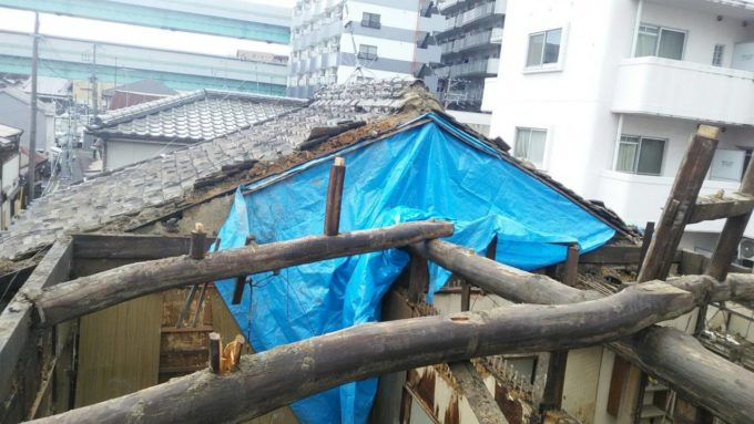 画像:I様邸 解体中、小屋組の写真
