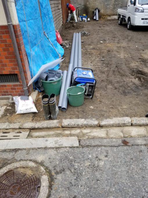 画像:I様邸 排水配管移設工事中の写真