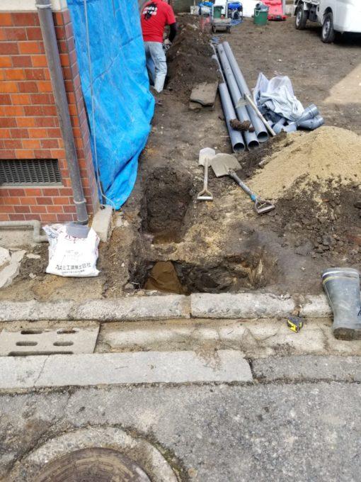 画像:I様邸 排水配管工事中の写真
