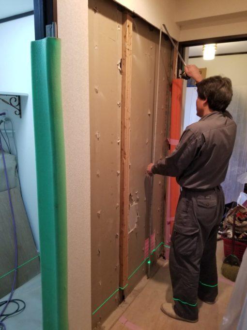 画像:Y様邸 片開き戸から引戸工事の壁開口の写真