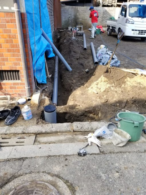 画像:I様邸 新規排水配管工事中の写真2