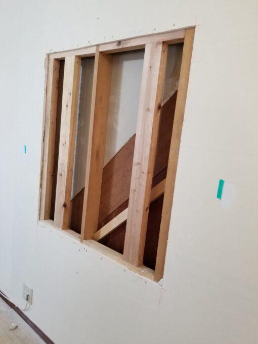 画像:I様邸 TV用壁下地工事中の写真