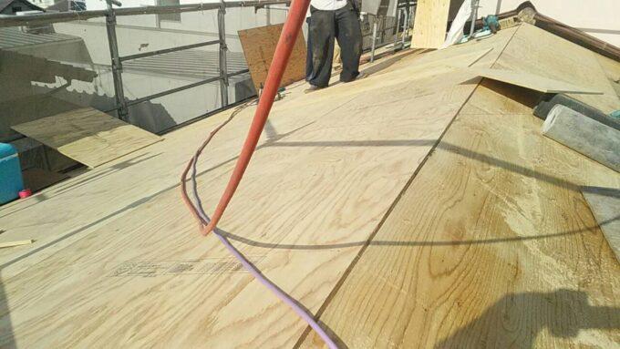 画像:K様邸 屋根 新しい下地施工中